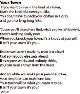 "The poem, ""Your Town,"" is one of Sharette's favorites."