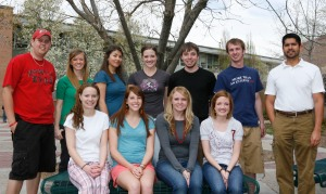 Back row, from left: Tyler Cobb; Madison Rice; Michelle Schmitt; Patrick Harrington; Jed Layton; Geoffrey Fattah. Front row, from left: Emily A. Showgren; Danielle Murphy; Paige Kasteler. Photo by Tyler Cobb.