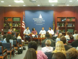 The Pride Week panel at the Hinckley Institute of Politics, Oct. 4, 2012.