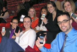 Students practiced live tweeting during the keynote address by the Rev. Jesse L. Jackson at the U on Jan. 24, 2013.