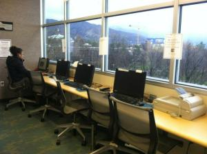 The computers available to students at the LGBT Resource Center.