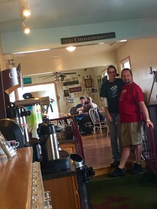 Anna Whitnack and Ron Ford stand in their coffee shop Jessie Jean's Coffee Beans Homestyle Café.