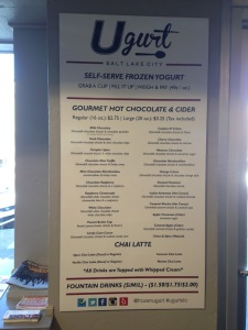 Ugurt's menu lists many different options other than frozen yogurt treats.