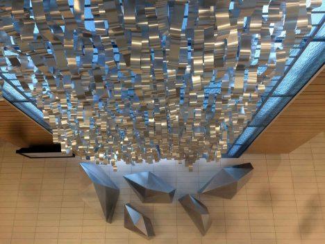 A public art piece inside the Spencer Fox Eccles Building.