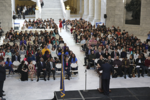 Utah Gov. Gary Herbert speaks to assembled youth at Multicultural Youth Leadership Day at the Utah State Capitol, Tuesday, Feb. 16, 2016.
