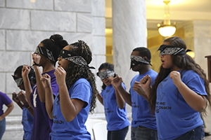 Youth from the True Vine Baptist Church perform at Multicultural Youth Leadership Day at the Utah State Capitol, Tuesday, Feb. 16, 2016.