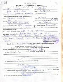 Police form that Moses filled out to no avail.