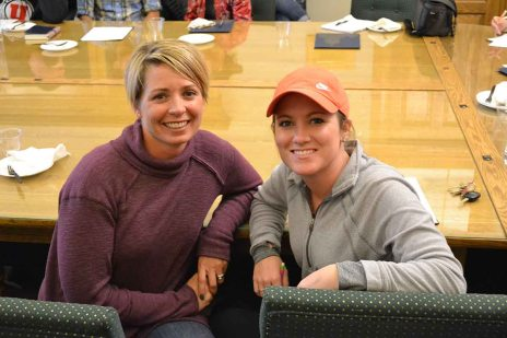 Local volunteers Kim Watson and Sarah Anderson at a November 2017 orientation.