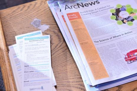 News and pamphlets available in the lobby of the Refugee Services Office.